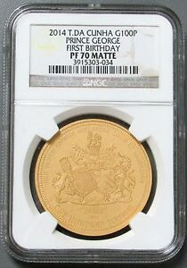 2014 NGC Prince George's 1st Birthday £100 Gold Coin PF70 Matte w Box