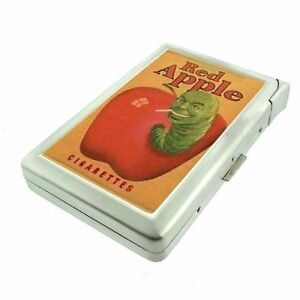 VINTAGE RED APPLE AD SIGN CIGARETTE CASE LIGHTER SLIVER METAL WALLET D 21