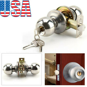 Stainless Steel Ball Door Knobs Handle Passage Entrance Lock Entry