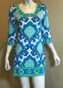 EMILIO PUCCI Green & Blue Multi Square Neck Bell Sleeve Dress Size 38 24 Small