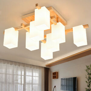 Nordic Wood Ceiling Lights Glass Shade Living Room Pendant Lamp Fixtures PL601