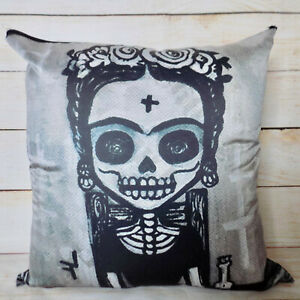 Mexican Pillow Cushion Cover 18x18 Day of the Dead Dia de los Muertos Skull