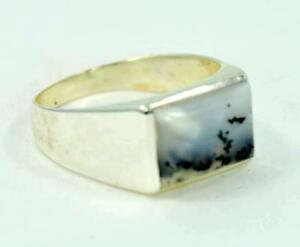 RARE NATURAL DENDRITIC AGATE 925 STERLING SILVER MENS RING #0215 G3 L8