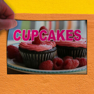 Decal Sticker Cupcakes Brown Pink Red Food & Beverage Cup Cakes Store Sign