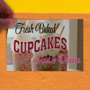 Decal Sticker Fresh Baked Cup Cakes Moist & Delicious! #1 Style A Store Sign