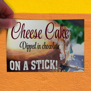 Decal Sticker Cheese Cake Dipped Chocolate On A Stick Cheesecake Store Sign Red