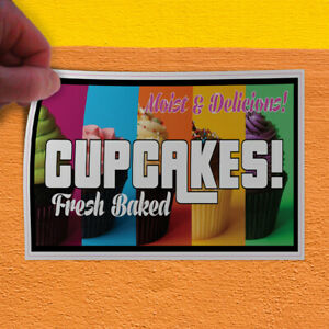 Decal Sticker Cupcakes Fresh Baked Restaurant Cafe Bar Style U Store Sign Pink