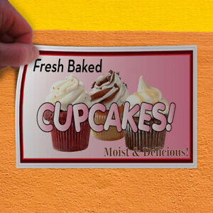 Decal Sticker Fresh Baked Cupcakes Restaurant Cafe Bar Style U Store Sign Brown