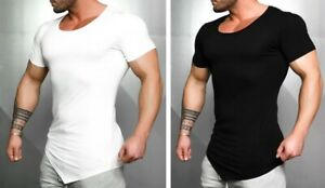 Bodybuilding Summer Top Gym Clothing Men Fitness Tight Cotton T Shirt Crossfit $22.49