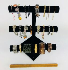 Jewelry Watch Bracelet Holder Display Stand 3-Bar Organizer WITH 22 BRACELETS!