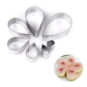 7Pcs Stainless Steel Water Drop Mold Cake Jelly Bread Cookie Biscuit Mold Cutter