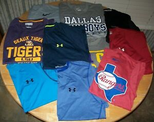 Lot of 10 Men's size Large Shirts - Under Armour Heat Gear Nike Dri-Fit Reebok