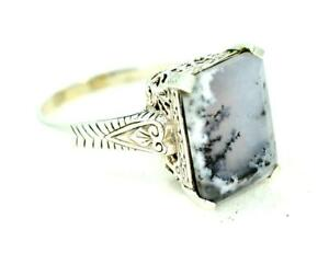 NATURAL DENDRITIC AGATE ANTIQUE STYLE 925 STERLING SILVER RING  #0169