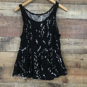 Free People Peplum Black and White Knit Tank Top Size Small