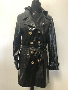 Womens Michael Kors Leather Patent Hoodie Black Leather Jacket Size 8