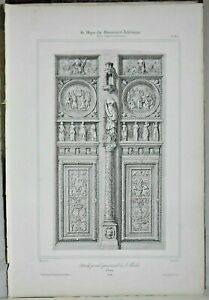 Lithography Door of the Portal Northern of St Maclou at Rouen