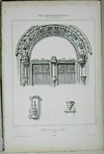 Lithography Portal of l'église from Mesnil