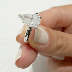 Solid 10K White Gold 1.50Ct Pear Cut DVVS1 DIAMOND Women's Engagement Ring