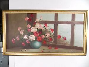 Vintage Oil on Canvas Painting by Listed Artist W. Taylor - Flowers - 52
