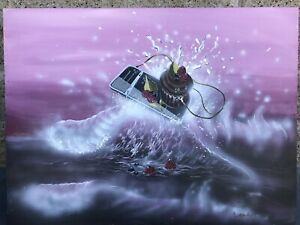 Sam Lea Original Cupcake Surfing Ocean Iphone Pop Art Acrylic On Canvas Painting