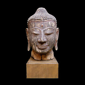 Magnificent Cambodian wooden head of Buddha x3990