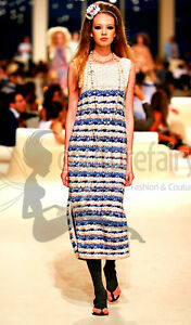 COLLECTOR'S CHANEL CROISIERE CRUISE 2015 DUBAI COLLECTION CROCHET KNIT DRESS