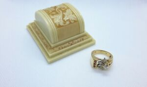 Wonderful Diamonds & Natural Ruby Ring. 14k Yellow Gold vintage ring. Box