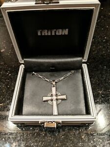 Triton Necklace With Dimond Cross Pendant.  100% Authentic.  32 inch.