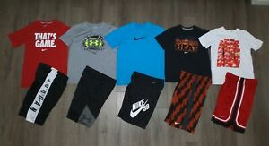 Lot 10 Boy's UNDER ARMOUR NIKE Shorts Shirts Sets Gently Used Youth Large YLG