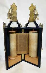Jewish Torah scroll Gevill Sefer Torah with silver plated case compact Judaica