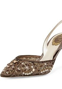 Rene Caovilla Shoes Bronze Beaded Lace Slingback Pumps Size 7 $1250 NEW!