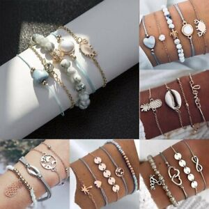 5Pcs/Set Bracelets Set Women Turquoise Beaded Chain Tassel Opened Bangle Jewelry