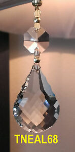 Lot of 6 REAL CRYSTAL  Magnetic Teardrop French Baroque  Chandelier Lamp