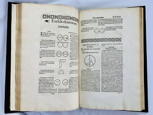 1566 Euclid Analytical Geometry Analyseis Geometricae Math Woodcut Illustrations