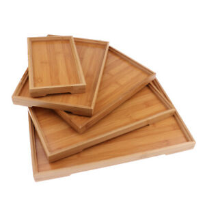 Wood Serving Tray Wooden Plate Tea Food Server Dishes Water Drink Platter