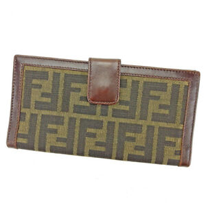 Fendi Wallet Purse Zucca Green Black Woman unisex Authentic Used S571