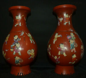 China Red Glaze Porcelain Tongzi Boy Pattern Flower Bottle Vase Wine Flask Pairs