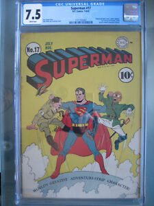 Superman #17 CGC 7.5 WP 1942 1st Fortress of Solitude First Printing