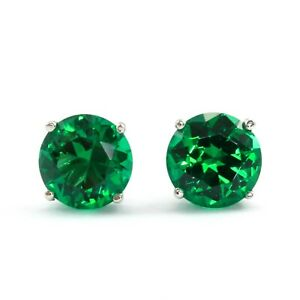 2 Ct. Green Round Cut Diamond Earrings Studs Solid14K White Gold Screw Back