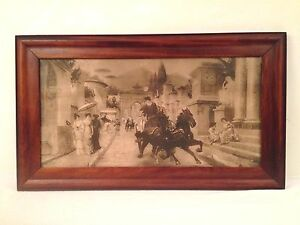 Antique Lithograph Roman City Street w Chariots Empire Wood Frame