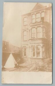 Boy Camping in Back Yard RPPC Antique English Real Photo TENT England 1908