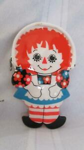 Vintage 1971 Raggedy Ann and Andy original zip vinyl coin purse doll shaped Exc $20.00
