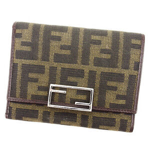 Fendi Wallet Purse Trifold Zucca Green Black Woman unisex Authentic Used A1630