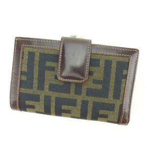 Fendi Wallet Purse Coin purse Zucca Brown Green Woman Authentic Used Y5520