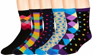 Men's Dress Socks 6 Pairs Colorful Fun Funky Assorted Patterned Socks Size 10-13
