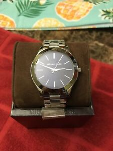 Michael Kors MK3379 Slim Runway Silver Stainless Steel Bracelet Watch 42mm Women