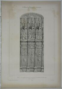 Lithography Door Wooden Carved the Portal of the Cathedral Beauvais