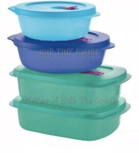 Tupperware Crystalwave PLUS Stain Guard Set Round Rectangle Container Blue Green