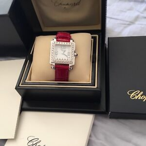 Chopard Happy Sport 7-Floating Diamonds 18k White Gold  Watch Box bucklets !!
