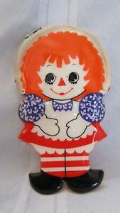 Vintage 1970s Raggedy Ann and Andy original zip vinyl coin purse doll shaped Exc $15.00